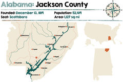 Alabama: Jackson county map. Large and detailed map of Jackson County in Alabama Stock Image