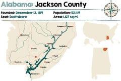 Alabama: Jackson okręgu administracyjnego mapa Obraz Stock