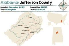 Alabama: Jefferson okręgu administracyjnego mapa ilustracja wektor