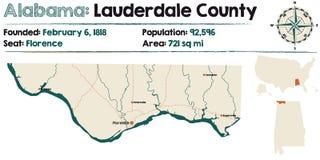 Alabama: Lauderdale okręgu administracyjnego mapa Zdjęcia Stock