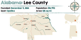 Alabama: Lee county map. Large and detailed map of Lee County in Alabama Stock Photo