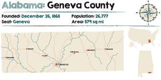 Alabama: Lemańska okręg administracyjny mapa Fotografia Royalty Free