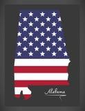 Alabama mapa z Amerykańską flaga państowowa ilustracją Zdjęcie Royalty Free