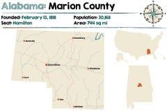 Alabama: Marion okręgu administracyjnego mapa Zdjęcie Royalty Free