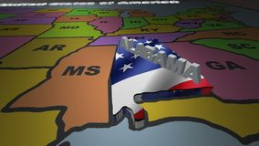 Alabama pull out from USA states abbreviations map. State Alabama pull out from USA map with american flag on background. A map of the US showing the two-letter stock video footage