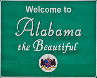 Alabama road sign. Details of a road sign at the Alabama state border, welcoming travelers Royalty Free Stock Images