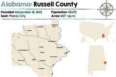 Alabama: Russell okręgu administracyjnego mapa Zdjęcia Stock