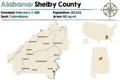 Alabama: Shelby okręgu administracyjnego mapa Zdjęcie Royalty Free