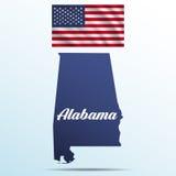 Alabama stan z cieniem z usa falowania flaga Zdjęcia Royalty Free