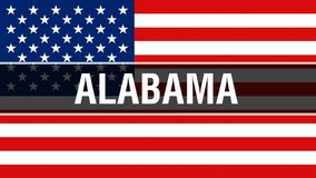 Alabama stat på en USA flaggabakgrund, tolkning 3D USA flagga som vinkar i vinden Stolt vinka för amerikanska flaggan vektor illustrationer