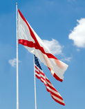 Alabama state flag and U.S. flag together Stock Photos