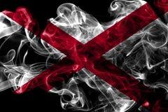 Alabama state smoke flag, United States Of America. On a black background royalty free stock images