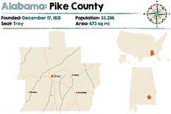 Alabama: Szczupaka okręgu administracyjnego mapa Obraz Stock