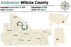 Alabama: Wilcox okręgu administracyjnego mapa Zdjęcie Royalty Free