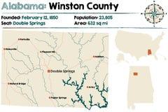 Alabama: Winston county map Royalty Free Stock Photo