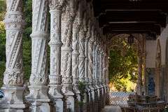 Alabaster columns in Serra do Bussaco. Palace Hotel of Bussaco A Palace turned hotel in Serra do Bussaco, Portugal Royalty Free Stock Photos