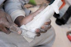 alabaster- handgjord manufacture royaltyfria bilder