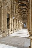 Alabaster Mosque. Arcaded corridors of Alabaster Mosque at Cairo Citadel Royalty Free Stock Photo