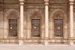 Alabaster Mosque. Three windows of Alabaster Mosque in Cairo Citadel Royalty Free Stock Photo