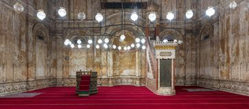 Alabaster wall with engraved niche and Platform at the Mosque of Muhammad Ali Alabaster Mosque, Citadel of Cairo in Egypt royalty free stock photography