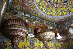 Alaca-Moscheen-Innenraum - Kalkandelen Mazedonien lizenzfreies stockbild
