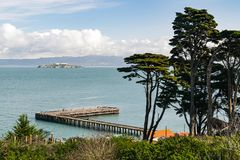 Alactraz prison in the bay. Scenic picture taken from San Francisco coastline, Alcatraz prison in the bay royalty free stock photos