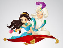 Aladdin και πριγκήπισσα στον πετώντας τάπητα διανυσματική απεικόνιση