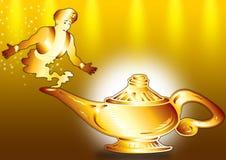 Aladdin en lamp stock foto's