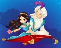 Aladdin On Flying Carpet At natt Royaltyfri Bild