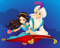 Aladdin On Flying Carpet At Night. Vector illustration of Arabian fairy tale. Prince and Princess travelling on flying carpet at the night Royalty Free Stock Image
