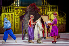 Aladdin Genie and Elephant. GREEN BAY, WI - MARCH 10: Aladdin Genie and Elephant on Skates from Aladdin at the Disney on Ice Treasure Trove show at the Resch stock photo