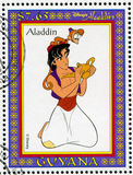 Aladdin. GUYANA - CIRCA 1993: stamp printed by Guyana, shows Aladdin, Disney animated film, circa 1993 royalty free stock photo