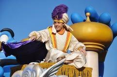 Aladdin i en dröm kommer riktigt firar ståtar Arkivbild