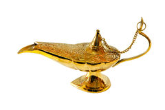 Aladdin lamp. Golden retro style Aladdin lamp with clipping path stock images