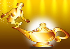 Aladdin and lamp. Aladdin's Lamp with a genie-sized flame vector illustration