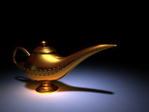 Aladdin lamp. Golden Aladdin on spot light - rendered in 3d royalty free stock photo