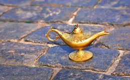 Aladdin lamp close-up. Arabic fairy tale concept of dreams and magic royalty free stock image
