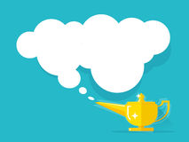 Aladdin lamp with Jean cloud vector illustration  Royalty Free Stock Photos