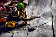 Aladdin Lamp and spices Stock Photo