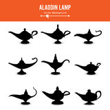 Aladdin lamp Vector. Set Icons Aladdins lamp Signs. Illustration Of Wish And Mystery Souvenir. Aladdin lamp Vector. Set Icons Aladdins lamp Signs. Illustration royalty free illustration