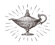 Aladdin magic or genie lamp. Vintage sketch vector illustration. Isolated on white background stock illustration
