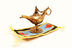 Aladdin magic lamp. Isolated on white Royalty Free Stock Photos