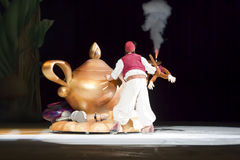Aladdin and the Magic Lamp. GREEN BAY, WI - MARCH 10: Aladdin and the magic lamp on skates from Aladdin at the Disney on Ice Treasure Trove show at the Resch royalty free stock photo