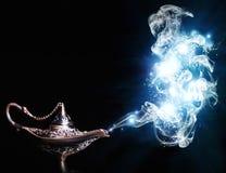 Aladdin magic lamp. Aladdin lamp on black background royalty free illustration