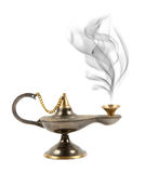 Aladdin magic lamp. Isolated on white stock photos