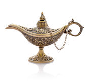 Aladdin magic lamp. Oil lamp in oriental style with floral texture isolated on white Royalty Free Stock Photos