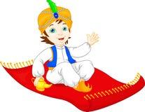Aladdin op het vliegen tapijt het reizen Stock Foto
