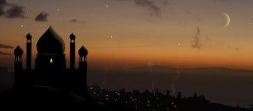 Aladdin palace. Magical arabian palace in desert at sunset stock image
