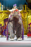 Aladdin Riding an Elephant with Colorful Skaters Stock Photography