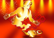 Aladdin's Lamp. Lamp with a genie in red vector illustration